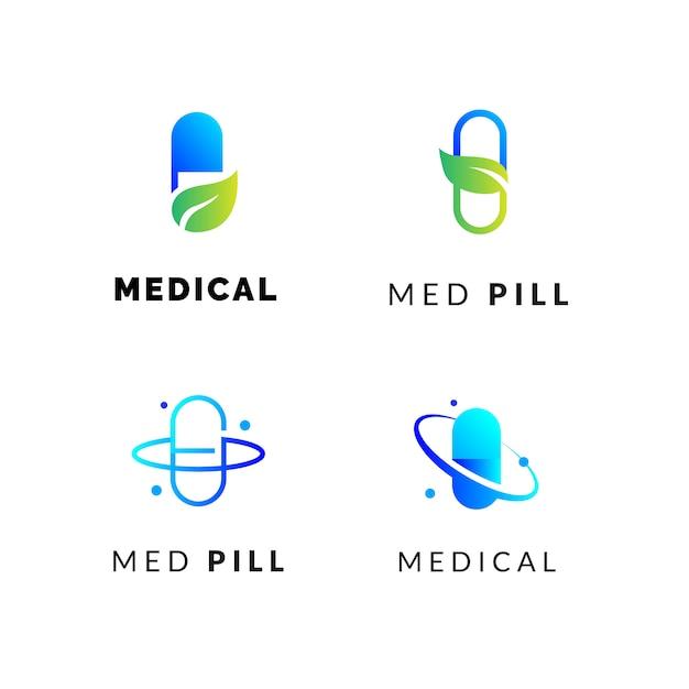 Medical pills logos set Premium Vector