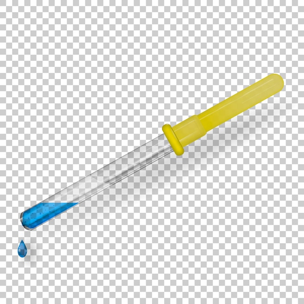 Medical pipette made of transparent glass with a rubber tube. Premium Vector