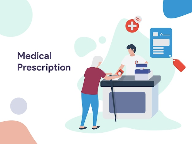 Medical prescription illustration Premium Vector