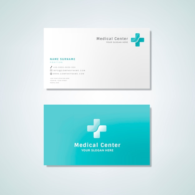 Medical professional business card design mockup Free Vector