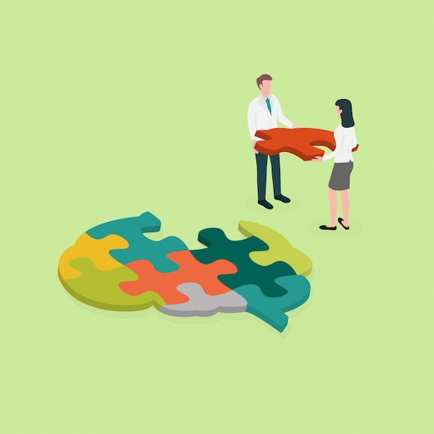 Medical professional make a brain jigsaw puzzle.concept for cognitive rehabilitation in al Premium Vector