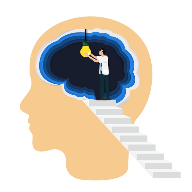 Medical professional open a light bulb inside the brain as a symbol of creative idea. Premium Vector