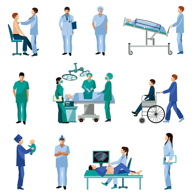 Medical professional people flat icons set Free Vector