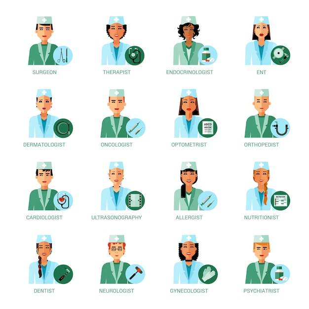 Medical professions avatars set Free Vector
