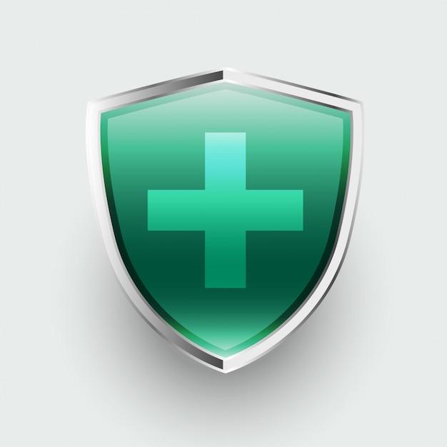 크로스 기호 의료 보호 의료 방패 무료 벡터