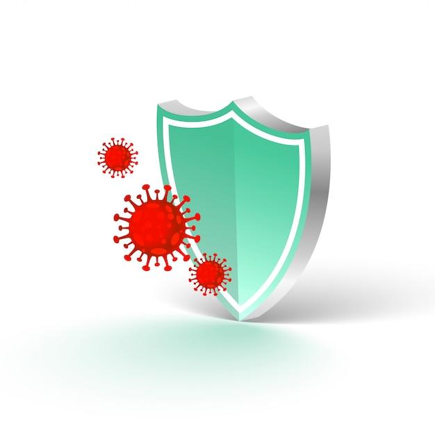 コロナウイルスの侵入を阻止する医療用保護シールド 無料ベクター