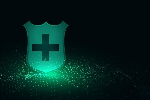 クロスサインの背景を持つ医療用保護シールド 無料ベクター