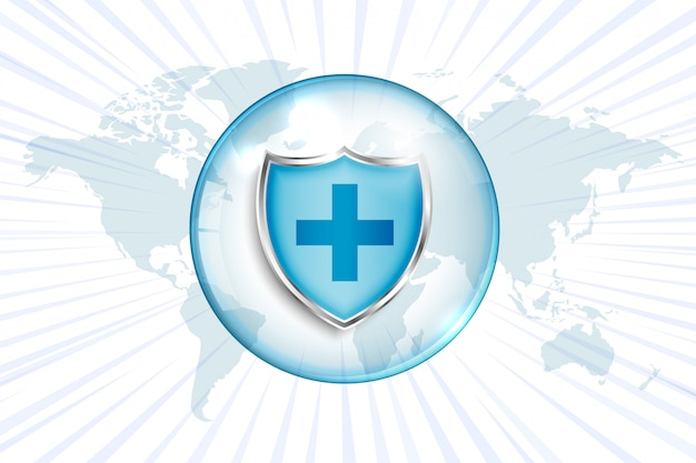 Medical protection shield with cross sign and world map Free Vector