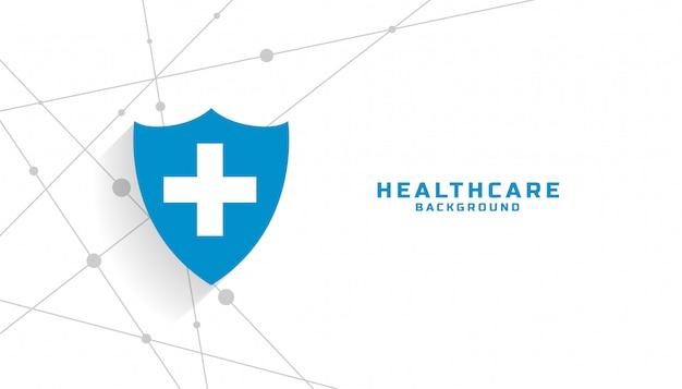 テキスト領域を持つ医療用保護シールドの背景 無料ベクター
