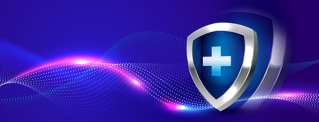 Medical protective shield banner background Free Vector