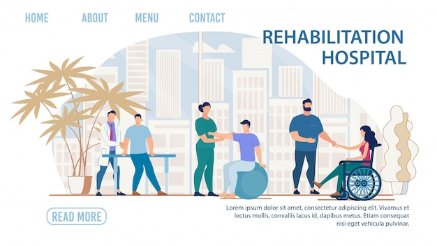 Medical rehabilitation hospital flat landing page Premium Vector