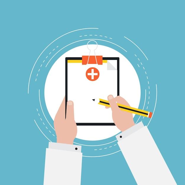 medical report flat illustration design vector premium download