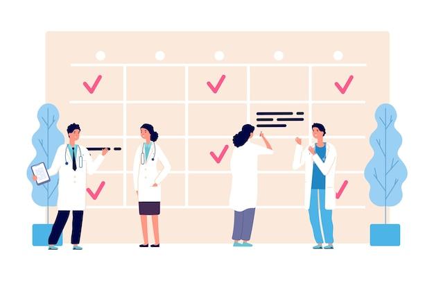 Медицинский график. график работы врачей. команда клиники, повестка дня, персонажи персонала больницы Premium векторы
