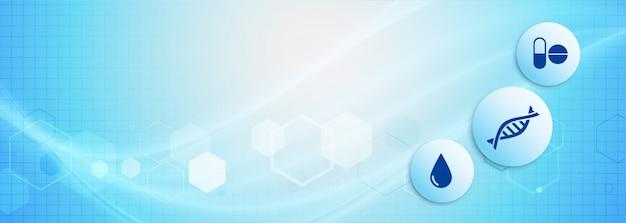 푸른 그늘에서 의료 과학 배너 무료 벡터