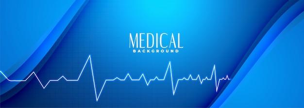 Медицинская наука синий баннер с линией сердцебиения Бесплатные векторы