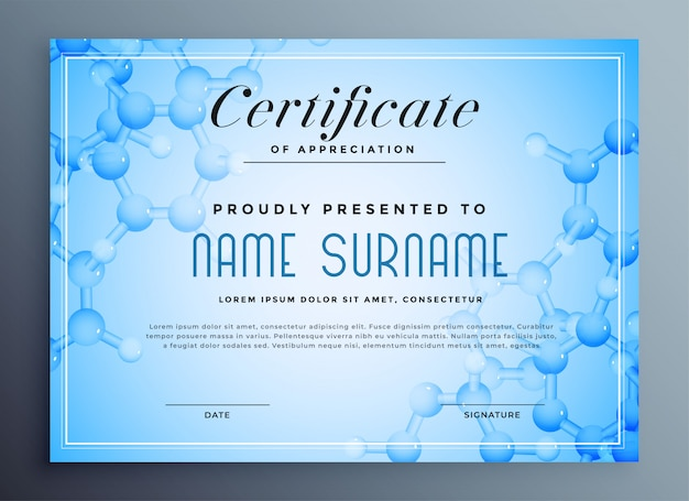 Medical science certificate with molecular structure Free Vector