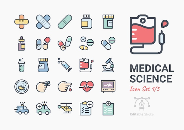 Medical science icon set Premium Vector