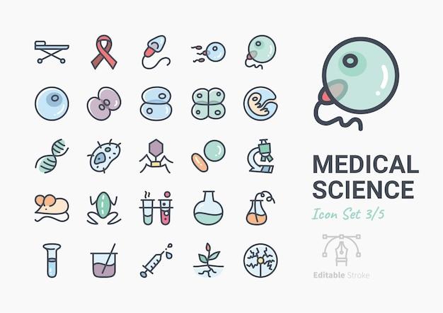 Medical science icon set Premium Vector