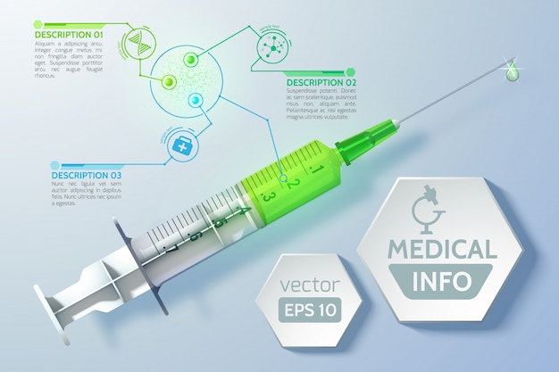 Medical scientific concept with syringe schedule hexagons in realistic style Free Vector