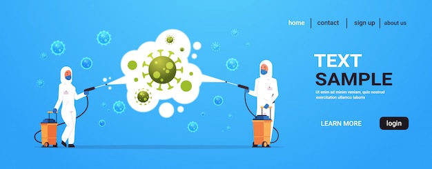 Medical scientists in hazmat suits cleaning and disinfecting coronavirus cells epidemic  virus concept wuhan  pandemic health risk full length horizontal Premium Vector