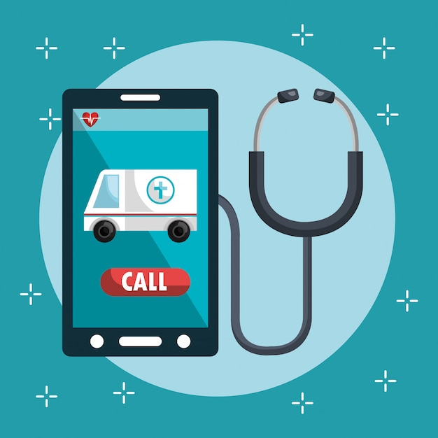 Medical service on line with smartphone Free Vector