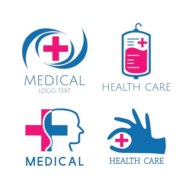 Набор векторных логотипов медицинских услуг Бесплатные векторы