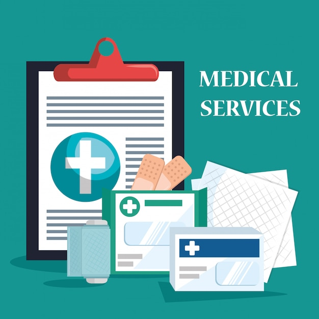 Medical service set icons Free Vector