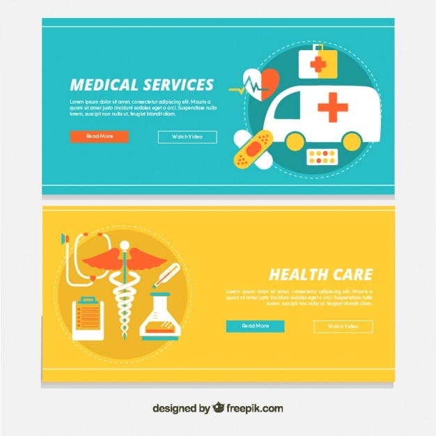 Medical services banners in flat design
