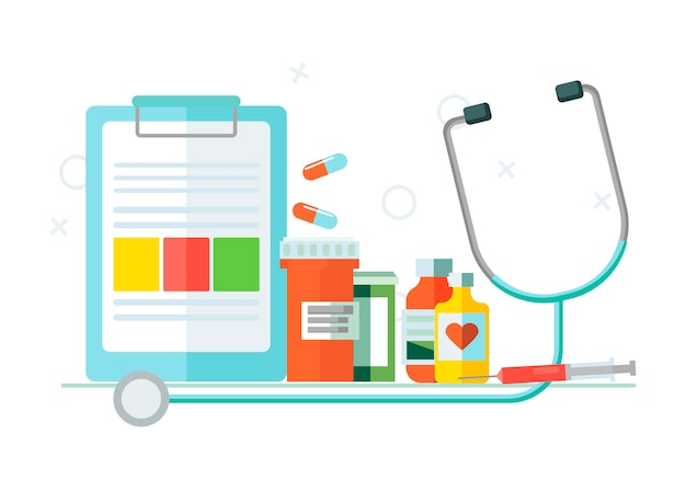 Medical set of objects Free Vector