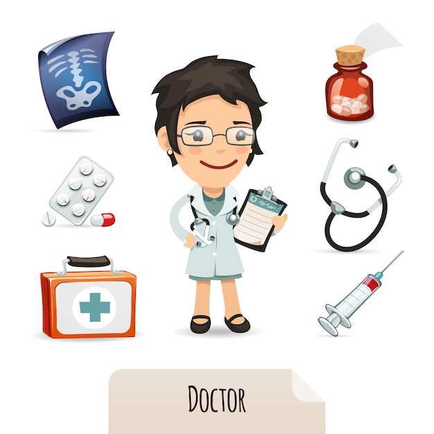 Medical set with a female doctor Premium Vector