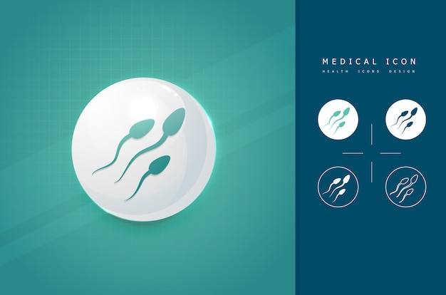 Medical sperm icon Premium Vector