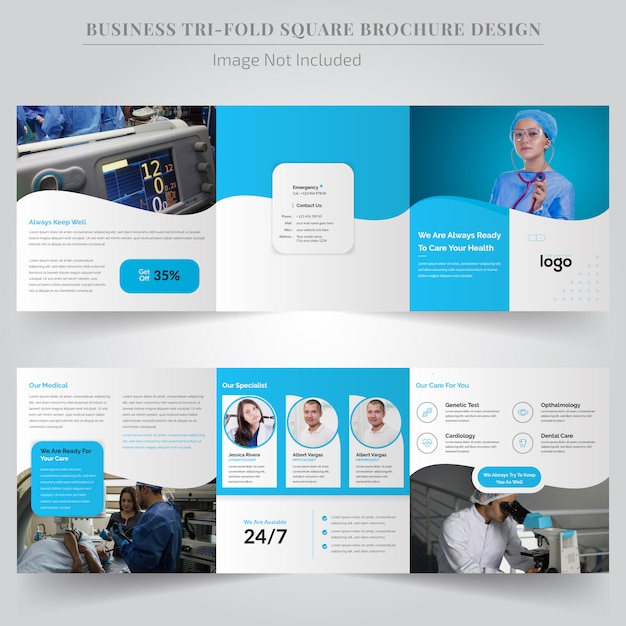 Medical square trifold brochure for hospital Premium Vector