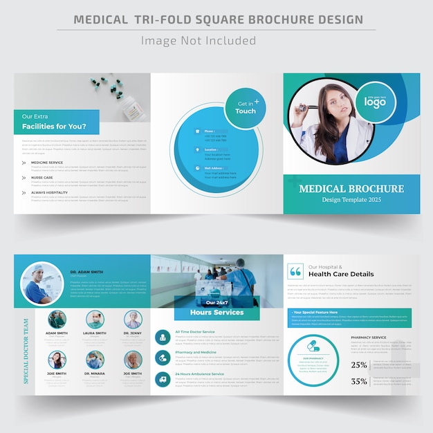 Medical square trifold brochure template Premium Vector