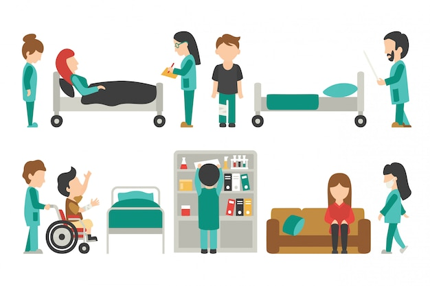 Medical staff flat, doctor, nurse, care people vector illustration, graphic editable for y Premium Vector