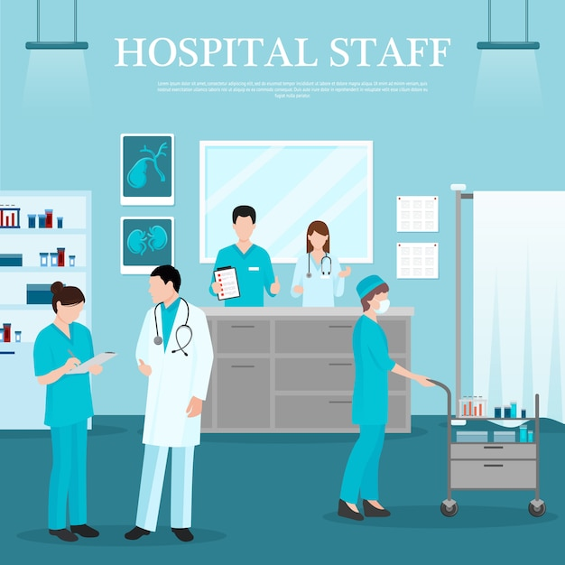 Medical staff template Free Vector
