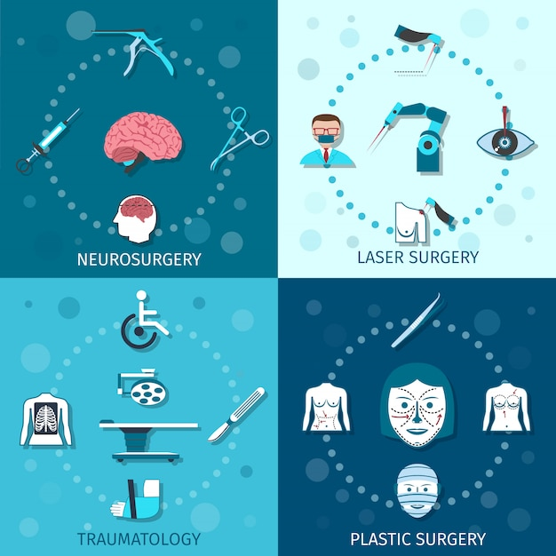 Medical surgery elements composition set Free Vector
