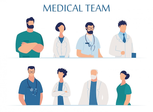 Medical team presentation for clinic and hospital Premium Vector