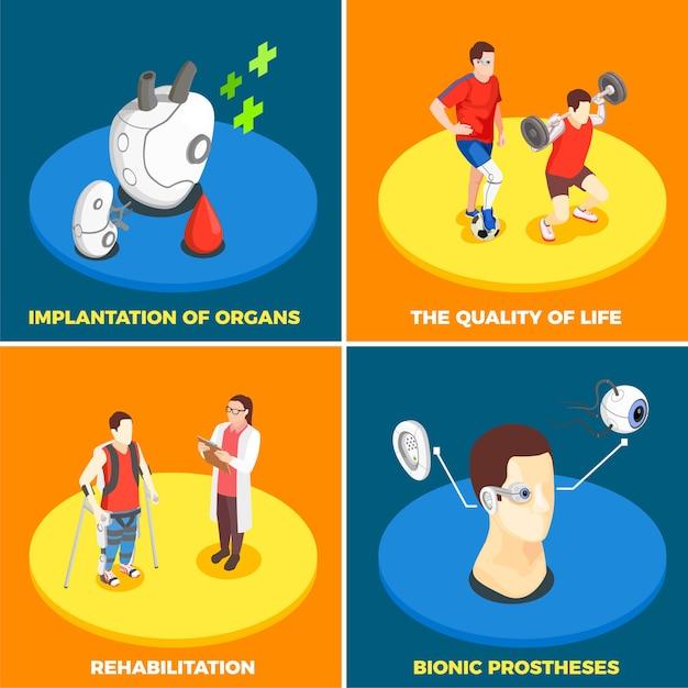 Концепция дизайна медицинских технологий 2x2 с имплантацией органов, бионический протез, качество жизни и реабилитация, изометрические квадратные значки Бесплатные векторы