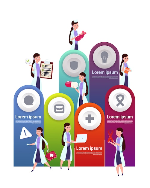 Medical template infographic elements with team of female doctors Premium Vector