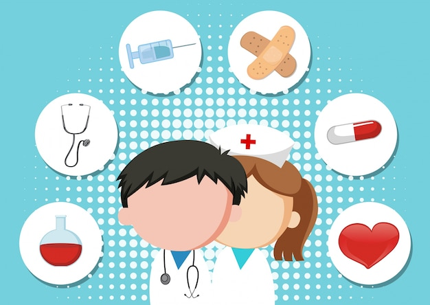 Medical theme background with doctor and equipments Free Vector