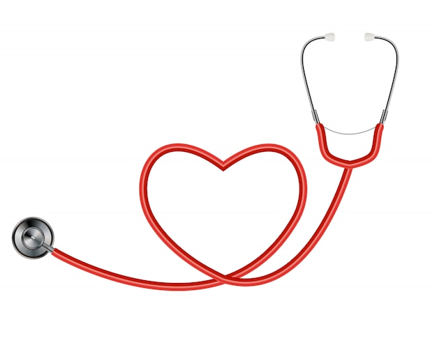 Medical tool stethoscope isolated on white  with heart symbol Premium Vector