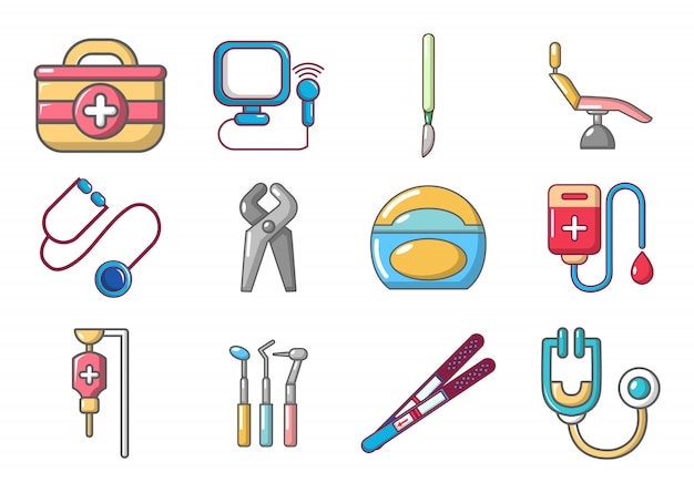 Medical tools icon set. cartoon set of medical tools vector icons set isolated Premium Vector