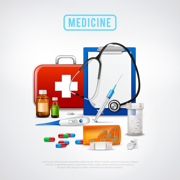 Medical tools kit background Free Vector