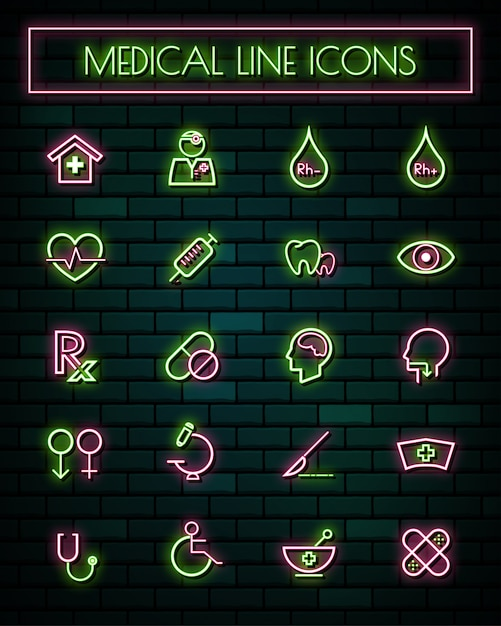 Medical and tools thin neon glowing line icons set. Premium Vector