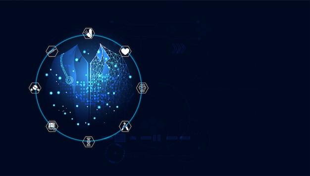 青いデジタルドクターの治療 Premiumベクター