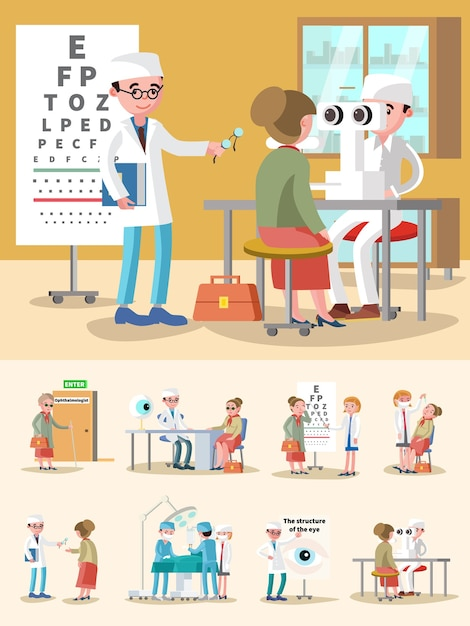 Medical treatment ophthalmology composition Free Vector