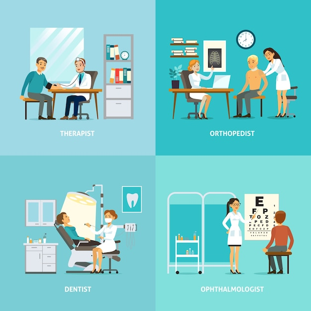 Medical treatment square composition Free Vector