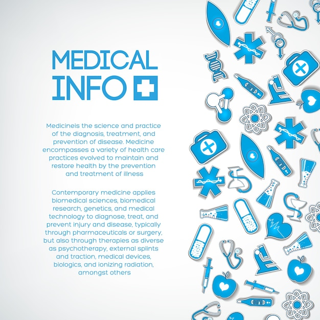Medical treatment template with text and blue paper icons on light Free Vector