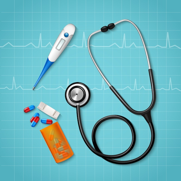 Medical treatment tools composition Free Vector