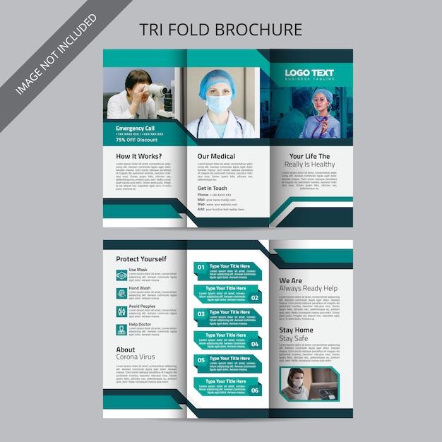 Medical tri fold brochure design template Premium Vector